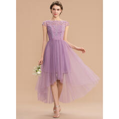 A-Line Scoop Neck Asymmetrical Tulle Lace Bridesmaid Dress (007165843)