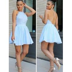 A-Line/Princess Lace Homecoming Dresses Scoop Neck Sleeveless Short/Mini