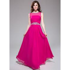 Chic A-Line/Princess Chiffon Floor-Length Sleeveless Prom Dresses (018041169)