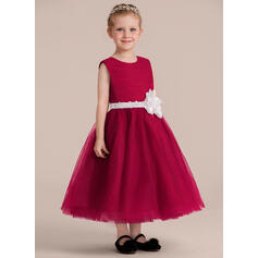 A-Line/Princess Ankle-length Flower Girl Dress - Organza/Satin/Tulle Sleeveless Scoop Neck With Sash/Flower(s) (Detachable sash)