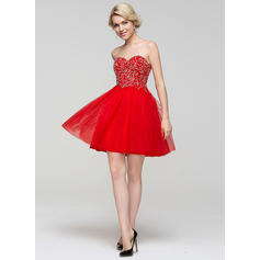 Tulle Strapless A-Line/Princess Sweetheart Homecoming Dresses
