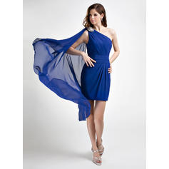 Sheath/Column Newest Chiffon General Plus Cocktail Dresses (016015762)