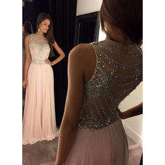 Chiffon Evening Dresses With A-Line/Princess Scoop Neck Sleeveless