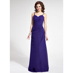 Chiffon Sleeveless Sheath/Column Bridesmaid Dresses Sweetheart Ruffle Floor-Length