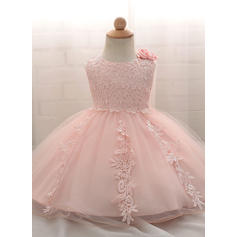 A-Line/Princess Scoop Neck Floor-length Tulle Christening Gowns With Bow(s) (2001218010)
