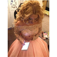 Satin Long Sleeves Ball-Gown Prom Dresses Off-the-Shoulder Beading Sequins Bow(s) Sweep Train
