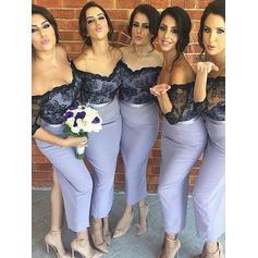 Ankle-Length Off-the-Shoulder Trumpet/Mermaid Satin Bridesmaid Dresses (007211696)
