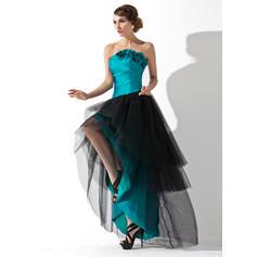 Taffeta Tulle Sleeveless A-Line/Princess Prom Dresses Strapless Ruffle Flower(s) Asymmetrical