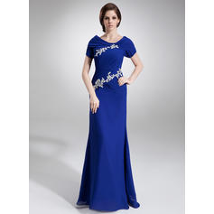 A-Line/Princess Chiffon Short Sleeves Scoop Neck Floor-Length Zipper Up Mother of the Bride Dresses