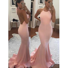 Jersey Sleeveless Trumpet/Mermaid Prom Dresses Halter Sweep Train