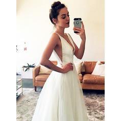 Magnificent Deep V Neck A-Line/Princess Wedding Dresses Floor-Length Sweep Train Tulle Sleeveless