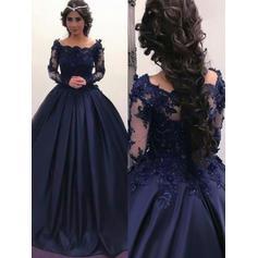 Corte de baile Magnífico Fuera del hombro Satén Vestidos de baile de promoción (018217918)