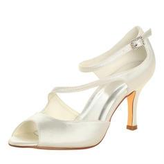 Vrouwen Satijn Stiletto Heel Peep-toe Sandalen met Gesp