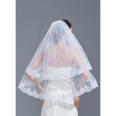 Codo velos nupciales Tul Dos capas Estilo clásico con Con Aplicación de encaje Velos de novia