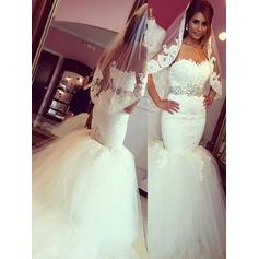 Sash Sweetheart Trumpet/Mermaid - Tulle Wedding Dresses (002210862)