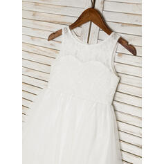 Forme Princesse Longueur mollet Robes à Fleurs pour Filles - Tulle/Dentelle Sans manches Col rond (010091710)