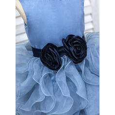 De baile Longos Vestidos de Menina das Flores - Organza de Sem magas Decote redondo com Cintos/fecho de correr (010091414)