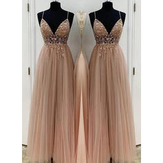 A-Line/Princess V-neck Floor-Length Prom Dresses With Appliques