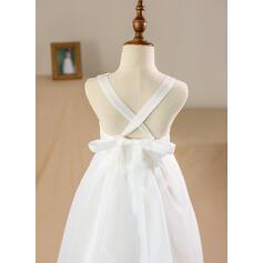 Vestidos princesa/ Formato A Longos Vestidos de Menina das Flores - Organza de/Cetim/Renda Sem magas Decote redondo com Renda (010094118)