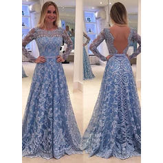 A-Line/Princess Long Sleeves Fashion Lace Prom Dresses