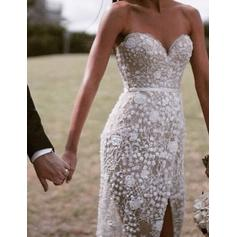 Sheath/Column Sweetheart Sweep Train Wedding Dresses With Split Front