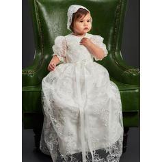 Tulle Col rond Dentelle Robes de baptême bébé fille avec manches 3/4 (2001216828)