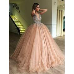 Ball-Gown V-neck Tulle Sleeveless Sweep Train Beading Evening Dresses
