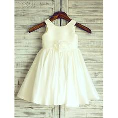 Scoop Neck A-Line/Princess Flower Girl Dresses Taffeta Flower(s)/Pleated Sleeveless Knee-length