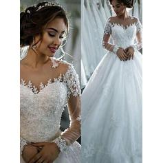Simple Cathedral Train Ball-Gown Wedding Dresses Scoop Tulle Long Sleeves