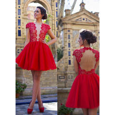 A-Line/Princess V-neck Short/Mini Homecoming Dresses (022212336)