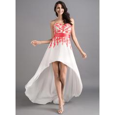 Strapless Asymmetrical Sweetheart Chiffon Prom Dresses (018046257)
