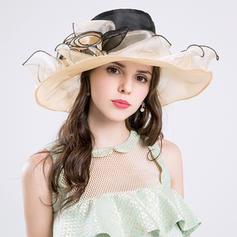 Cotton/Net Yarn With Silk Flower Floppy Hat Gorgeous Ladies' Hats