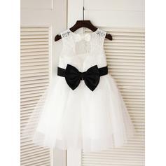 Escote redondo Corte A/Princesa Vestidos para niña de arras Tul/Encaje Fajas/Lazo(s) Sin mangas Hasta la rodilla (010211796)