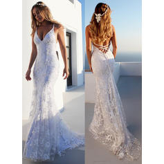 Modern Court Train Trumpet/Mermaid Wedding Dresses V-neck Tulle Sleeveless