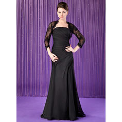 Trumpet/Mermaid Chiffon Sleeveless Strapless Floor-Length Zipper Up Mother of the Bride Dresses (008211454)