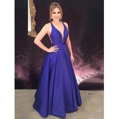 A-Line/Princess Flattering Sleeveless Satin Prom Dresses (018211561)