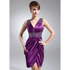 Sheath/Column Charmeuse Sleeveless V-neck Knee-Length Zipper Up Mother of the Bride Dresses