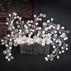 Señoras Glamorosa Aleación/La perla de faux Peines y pasador con Perla Veneciano (Se venden en una sola pieza)