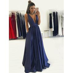 A-Line/Princess V-neck Floor-Length Evening Dresses (017145457)