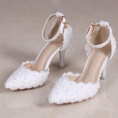 Women's Closed Toe Pumps Sandals Stiletto Heel Leatherette With Flower Braided Strap Wedding Shoes