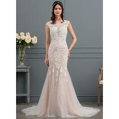 Trumpet/Mermaid Illusion Court Train Tulle Wedding Dress With Appliques Lace (002127245)