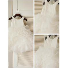 Ball Gown Scoop Neck Knee-length With Ruffles Organza Flower Girl Dresses
