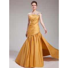 Satin Chiffon One-Shoulder Trumpet/Mermaid Sleeveless Gorgeous Evening Dresses (017019748)