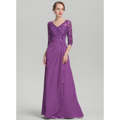A-Line/Princess V-neck Chiffon Sequined 1/2 Sleeves Floor-Length Cascading Ruffles Mother of the Bride Dresses
