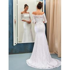 Magnificent Sweep Train Trumpet/Mermaid Wedding Dresses Off-The-Shoulder Lace 3/4 Length Sleeves