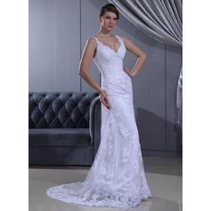 Precioso Barrer/Cepillo tren Corazón Vestido tubo Encaje Vestidos de novia (002196856)