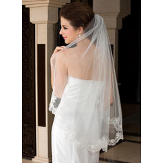 Voiles de mariée valse Tulle 1 couche Ovale/Mantilla avec Bord en dentelle Voiles de mariage