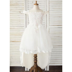 A-Line Asymmetrical Flower Girl Dress - Tulle/Lace Sleeveless Off-the-Shoulder (010193060)