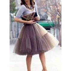 Bustle Knee-length Tulle Netting/Satin Half Slip 6 Tiers Petticoats