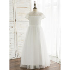A-Line/Princess Ankle-length Flower Girl Dress - Tulle/Lace Short Sleeves Scoop Neck With Back Hole (010164742)